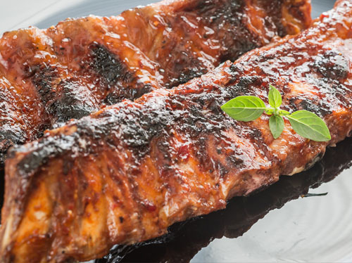 BBQ pork ribs available at our Gilford, NH butcher shop
